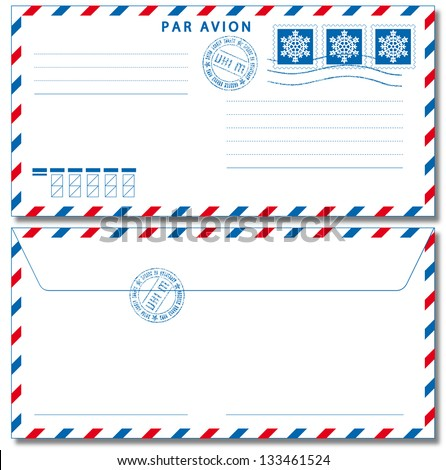 Airmail envelope with stamps. Vector illustration EPS10.