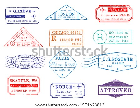 Airmail postage stamps with city and dates, vector icons. Post office delivery and customs approval stamps of London in Britain, Seattle and New York in USA, Paris France and Geneva in Switzerland