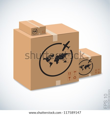 airmail sign on brown boxes.