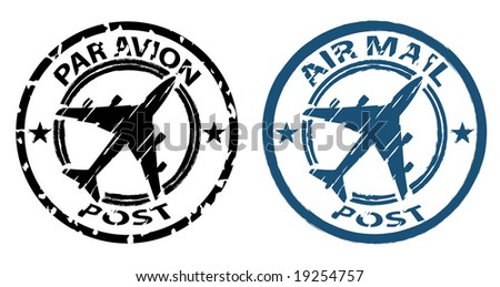 airmail stamp in grunge style