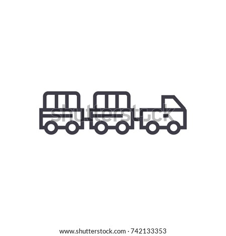 airoport baggage trailer linear icon, sign, symbol, vector on isolated background