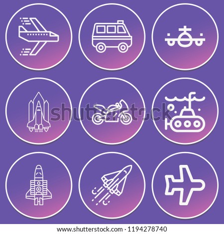 Airplane, aeroplane, van, submarine, motorcycle, shuttle, space shuttle icon set suitable for info graphics, websites and print media and interfaces