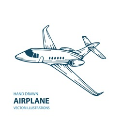 Airplane. Airplane hand drawn vector illustration.
