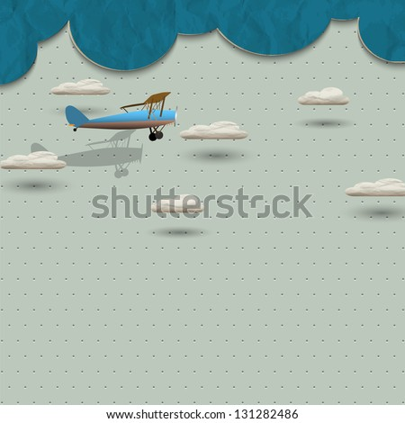 Airplane and clouds from paper. Vector paper-art
