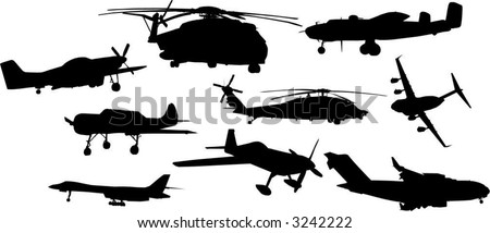 airplane and helicopter