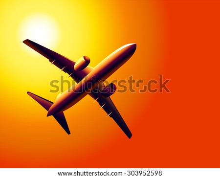 airplane and sunset sky