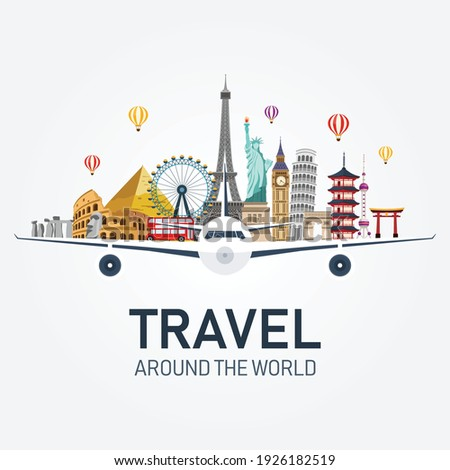 airplane and time to travel banner. travel around the world. buildings and landmarks on plane. vector illustration in flat style modern design. isolated on white background.