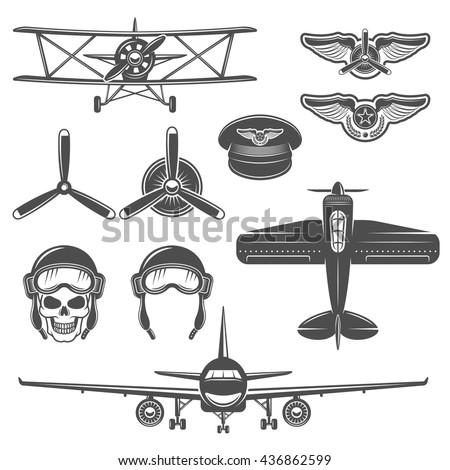 airplane black color icon set