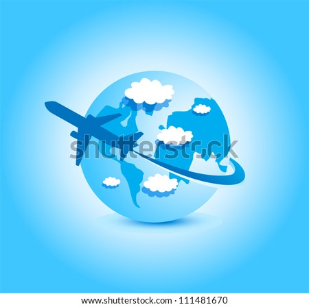 airplane blue sky globe