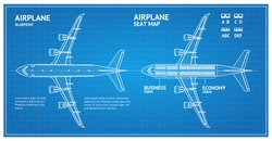 Airplane Blueprint Plan Top View Seat Map Business or Economy Class White Contour. Vector illustration of Blue Print