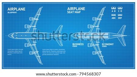 airplane blueprint plan top