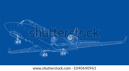 Aircraft vector download free vector art stock graphics images airplane blueprint vector illustration rendering of 3d malvernweather Choice Image