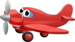 Airplane cartoon character mascot. An illustration of a cute red small or toy aeroplane