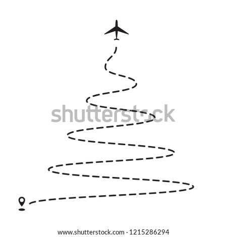 Airplane 2019 Christmas tree dotted path, aircraft tracking, trace or road vector illustration. New Year plane track to point, line way, air lines