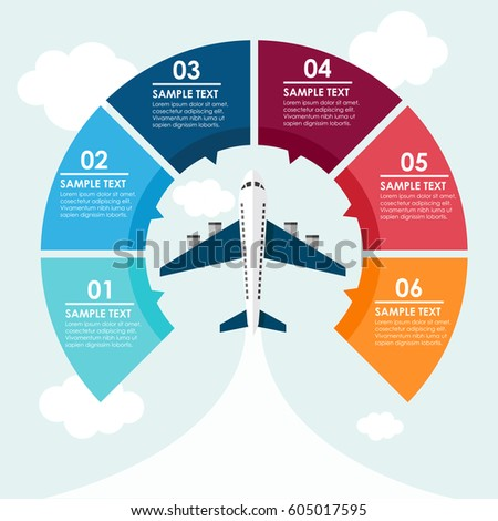 Airplane circle infographic with clouds background in the sky. Vector illustration