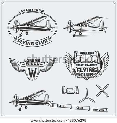 airplane club labels  emblems