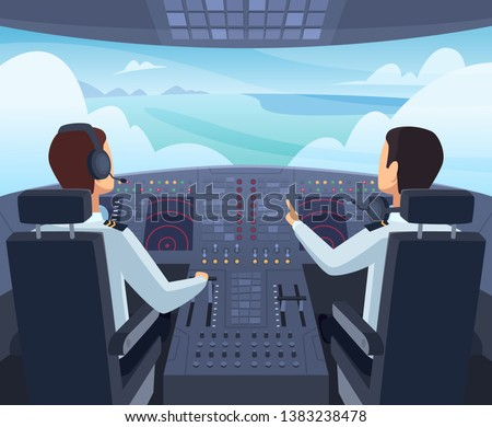 Airplane cockpit. Pilots sitting front of dashboard aircraft inside vector cartoon illustrations Сток-фото ©