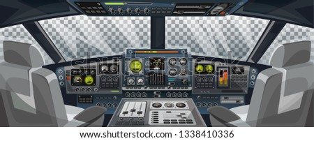 Airplane cockpit view with control panel buttons and transparent background on window view. Airplane pilots cabin with dashboard control and pilots chair for games design. Airplane interface for UI,  Сток-фото ©