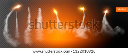 Airplane condensation trails. Jet trailing smoke isolated vector set. Foggy trail jet or plane, smoky effect after rocket. Flash rockets. Vector illustration.