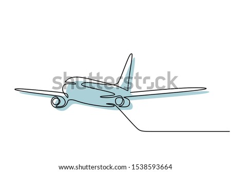 Airplane continuous one line drawing minimal design. Vector minimalism style.