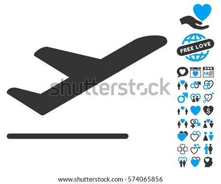 Airplane Departure icon with bonus dating pictograms. Vector illustration style is flat iconic blue and gray symbols on white background.