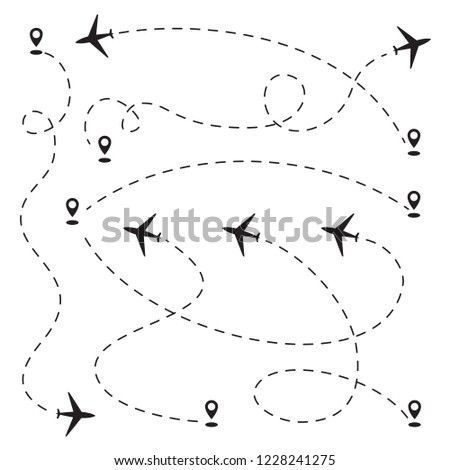 Airplane dotted path, aircraft tracking, trace or road vector illustration. Plane track to point, line way, air lines collection
