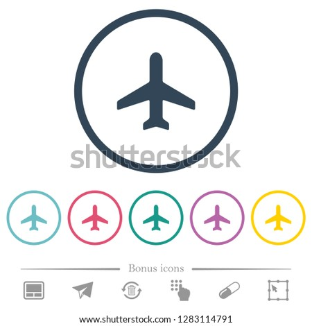 airplane flat color icons in