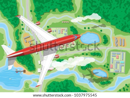 airplane flies above land with