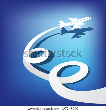 Airplane flies in the dark blue sky . Vector