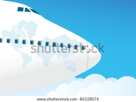 Airplane flies in the sky - stock vector