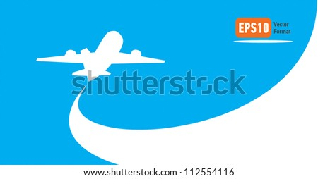 airplane flight tickets air fly cloud sky blue travel blank - stock vector