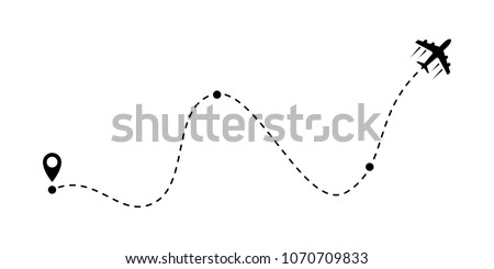 Airplane fligth route or air plane destination line path vector icon