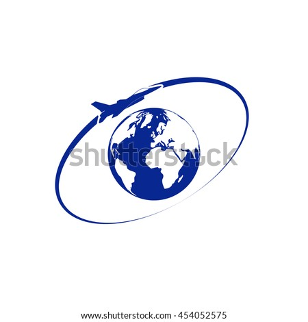 Airplane fly around the planet Earth. Logo.