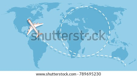 airplane flying above world map
