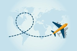 Airplane flying and leave a blue dashed trace line. Illustration in vector.