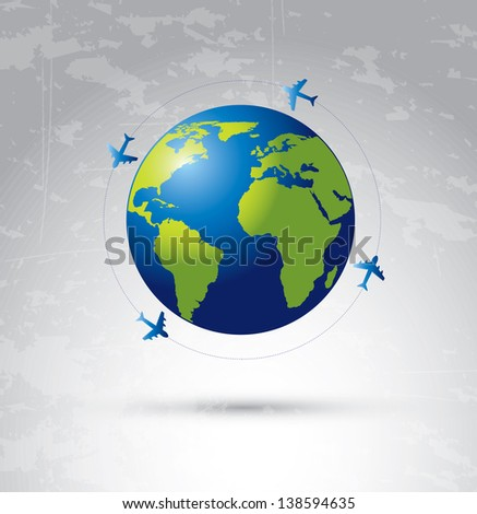 airplane flying around the world over degraded color background