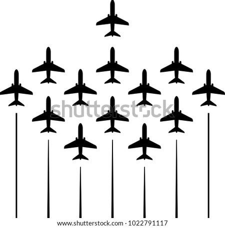 airplane flying formation  air