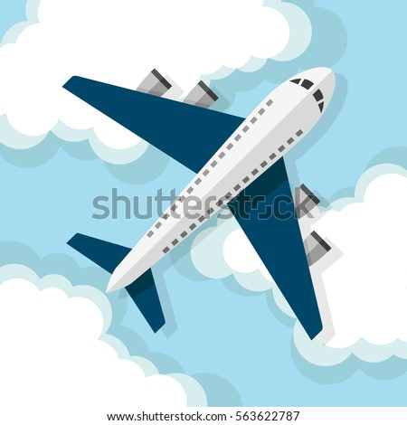 airplane flying on the clouds