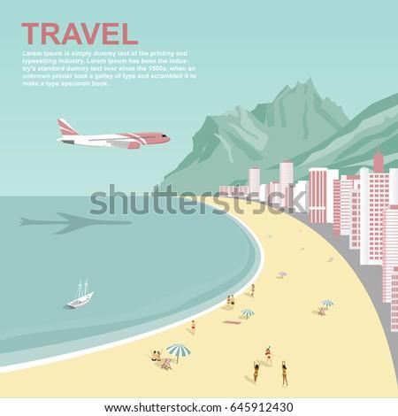 airplane flying over copacabana