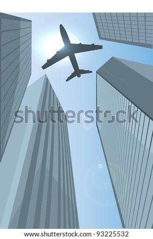 Airplane flying over the city eps10