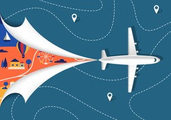 Airplane Flying Over the Map. View From Above. Vector Travel Concept. Trip Illustration. Tourism Background