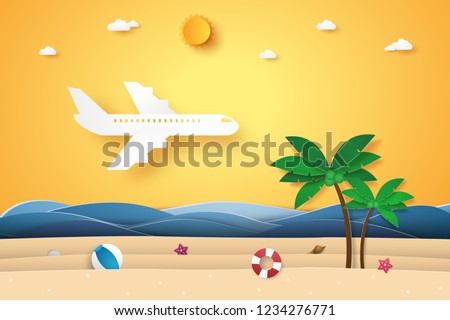 Airplane flying over the sea , summer time , paper art style
