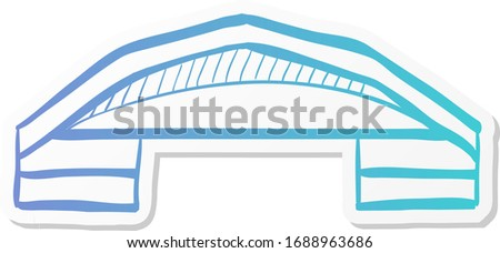Airplane hangar icon in sticker color style. Aviation repair maintenance building structure
