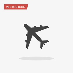 Airplane Icon in trendy flat style isolated on grey background. Plane symbol for your web site design, logo, app, UI. Vector illustration, EPS10.