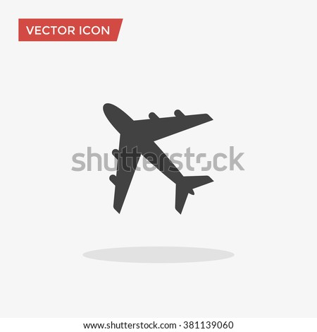 airplane icon in trendy flat