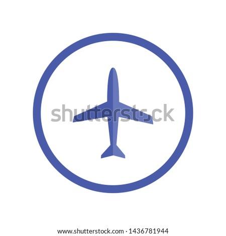 Airplane icon. Plane vector pictogram.  Flight pictogram. Airport symbol.