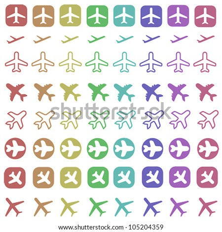 Airplane icon set. Icons related to air travel - passenger aircraft shapes.