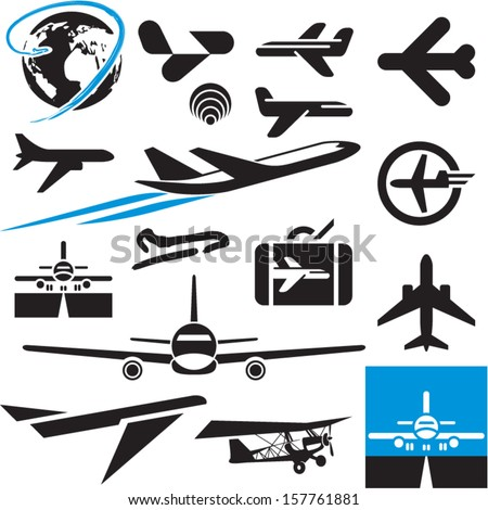 Airplane icons. Airport symbols. Plane.