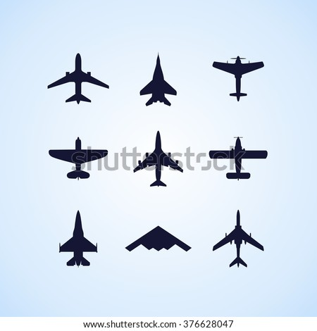 airplane icons set  passenger