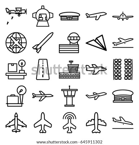 Airplane icons set. set of 25 airplane outline icons such as plane, runway, plane taking off, plane landing, lugagge weight, airport, airport tower